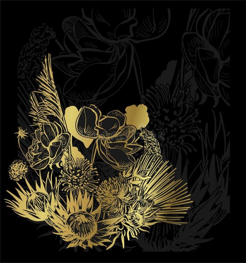 Blumenhintergrund des schwarzen Goldkarten-Hintergrundes elegant stock abbildung