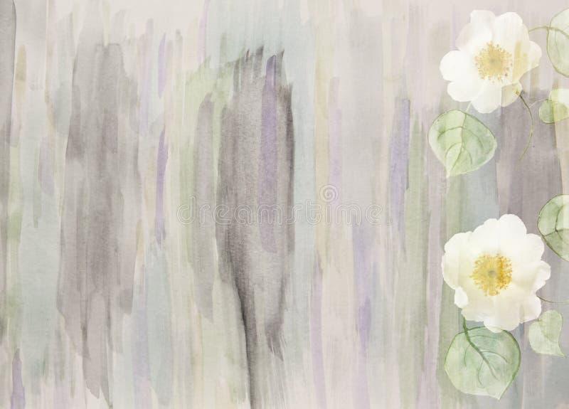 Blumenhintergrund des szenischen Aquarells mit den wilden Rosen, handgemalt stock abbildung