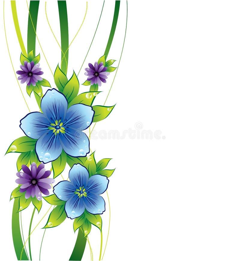 Blumenhintergrund mit blauen Blumen und Dew-drop stock abbildung