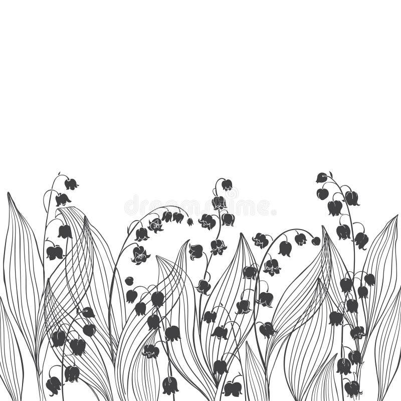 Blumenhintergrund mit Maiglöckchen und Platz für Text Vektorabbildung auf weißem Hintergrund vektor abbildung