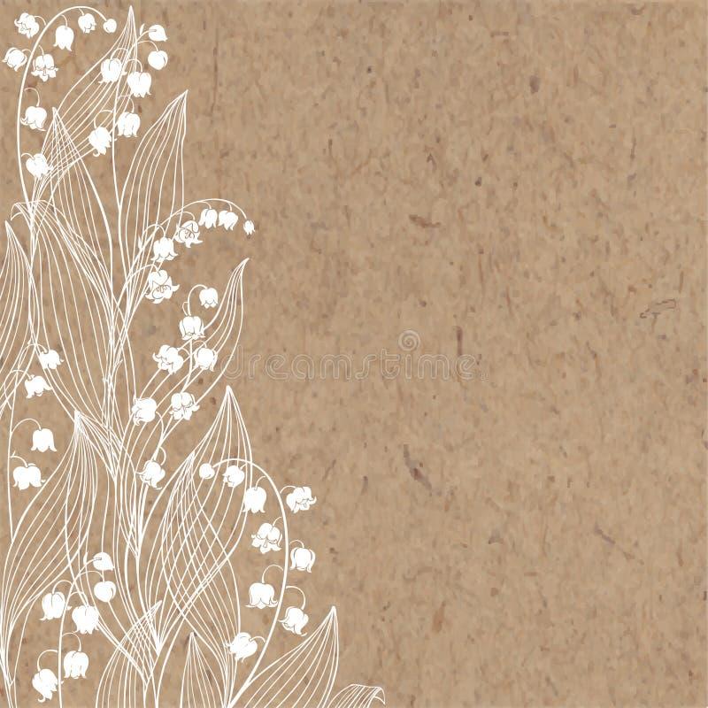 Blumenhintergrund mit Maiglöckchen und Platz für Text Vektorillustration auf einem Kraftpapier lizenzfreie abbildung