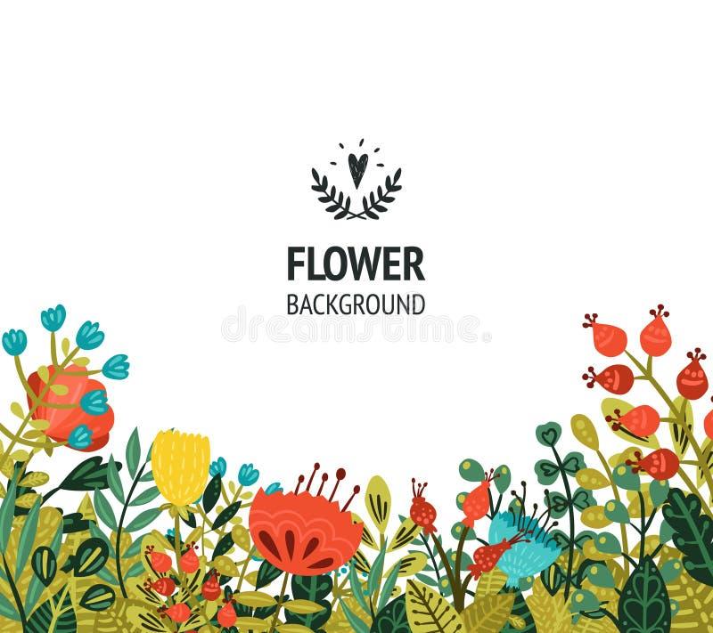 Blumenhintergrund mit netten Blumen stock abbildung