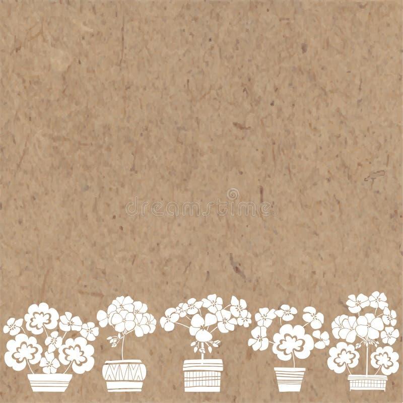 Blumenhintergrund mit Pelargonie und Platz für Text Vektorillustration auf einem Kraftpapier stock abbildung
