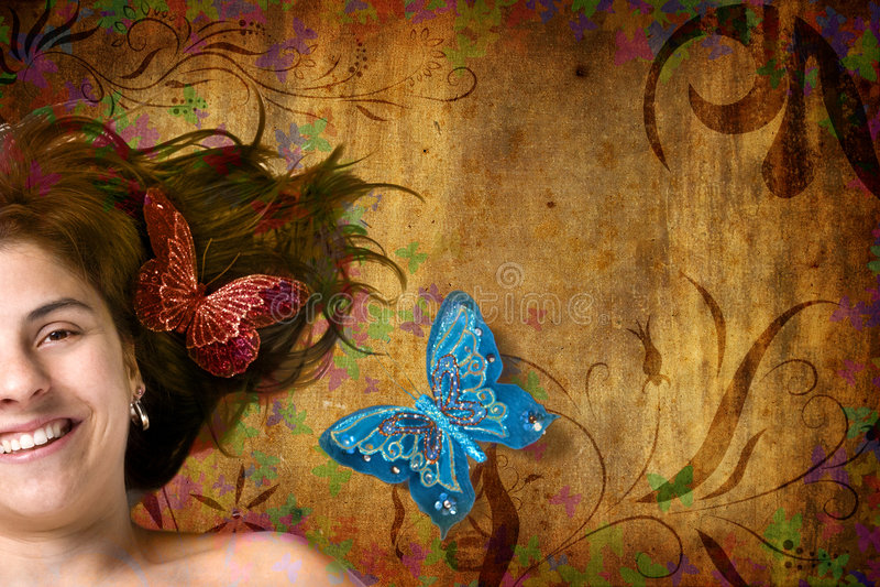 Blumenhintergrund mit schöner junger Frau stockfotos