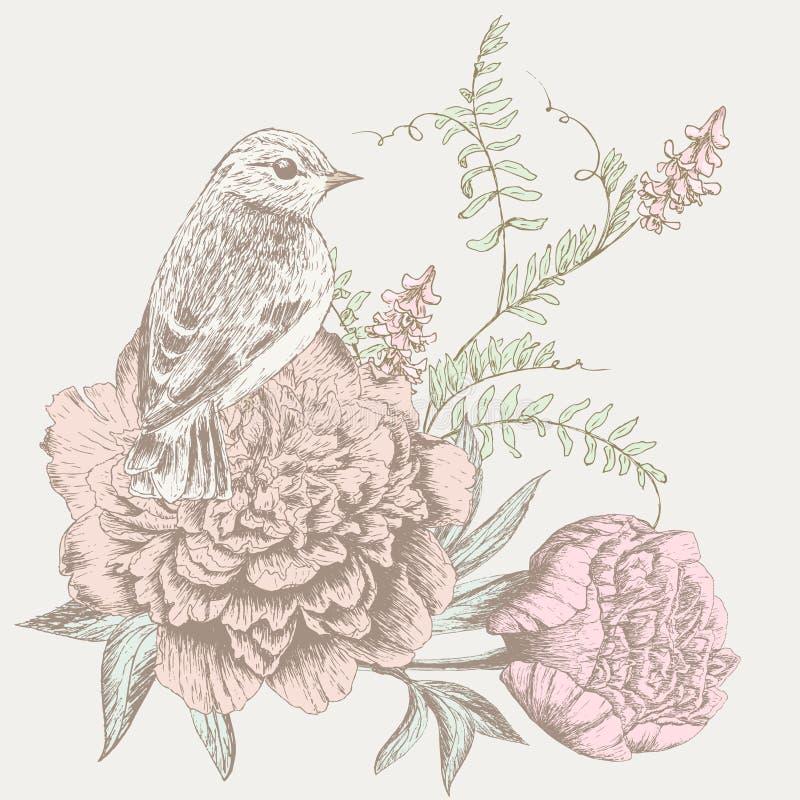 Blumenhintergrund mit Vogel vektor abbildung