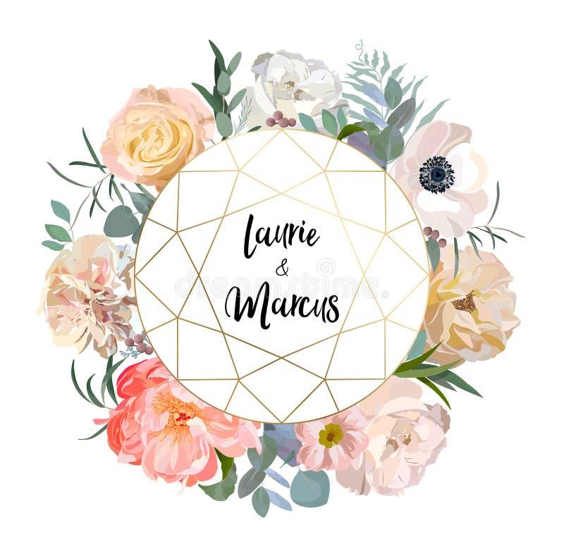 Blumenhochzeits-Einladung Elegante rosa Gartenrose, Pfingstrose, Anemone, Eukalyptusniederlassungen, Blätter Rand der Farbband-,  lizenzfreie abbildung
