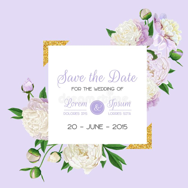 Blumenhochzeits-Einladung Speichern Sie die Datums-Karte mit blühenden weißen Pfingstrosen-Blumen und goldenem Rahmen Romantische lizenzfreie abbildung