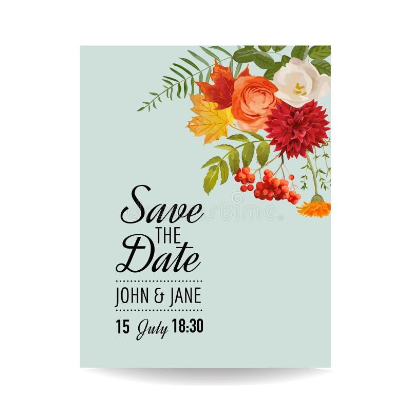 Blumenhochzeits-Einladungs-Karten-Schablone mit Autumn Flowers, Blättern und Vogelbeere Babypartydekoration lizenzfreie abbildung