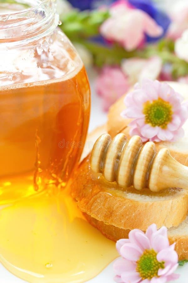 Blumenhonig und Weizenbrot stockbild