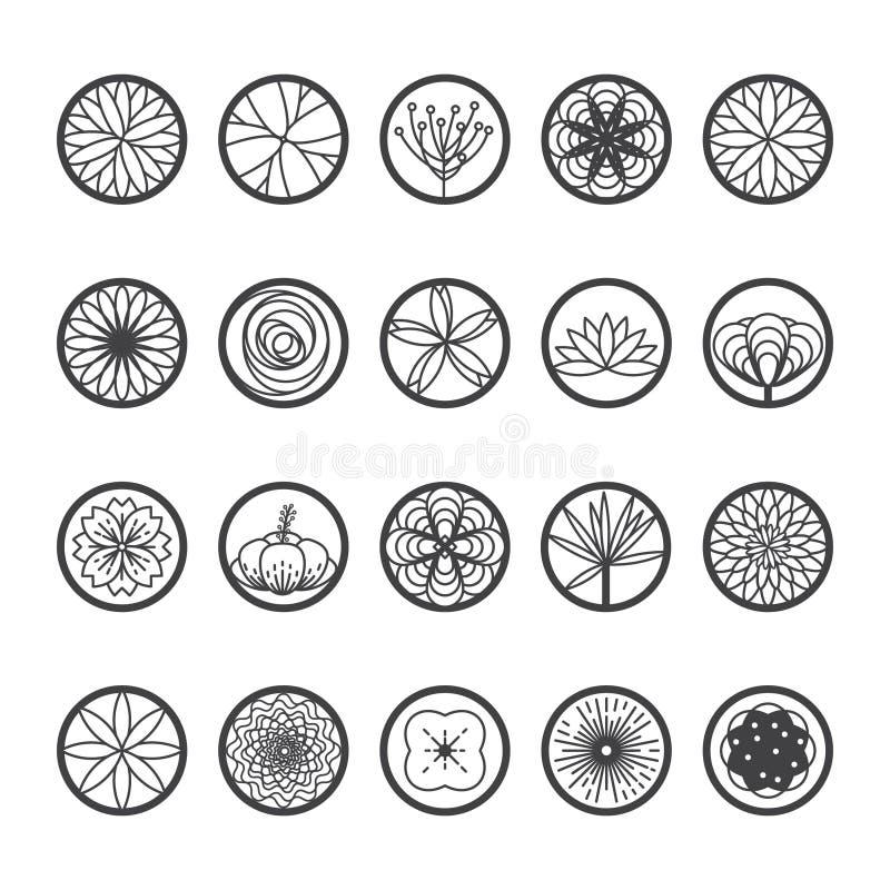 Blumenikonen in einer runden Form Artvektor der einzelnen Zeile vektor abbildung