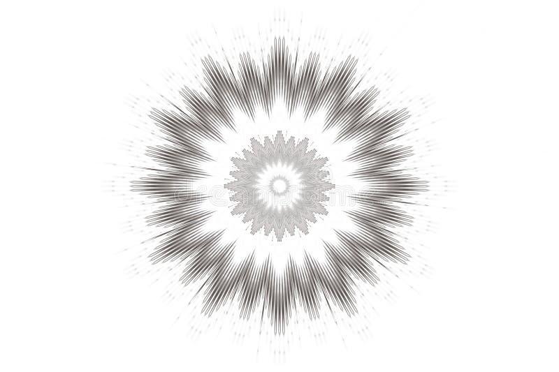 Blumenkaleidoskop des einfarbigen Musterhintergrundes keramische Mandala lizenzfreie abbildung