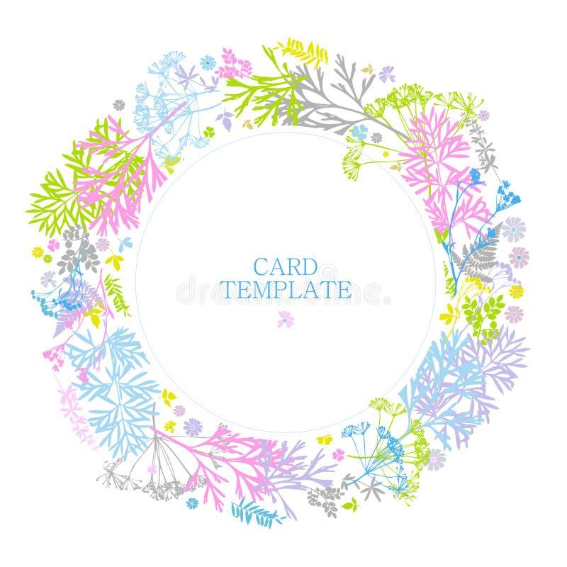 Blumenkarte mit Blättern, Blumen, Gras, Farn empfindliche Farben auf einem weißen Hintergrund Runder Rahmen des Gr?ns Landhaussti stock abbildung