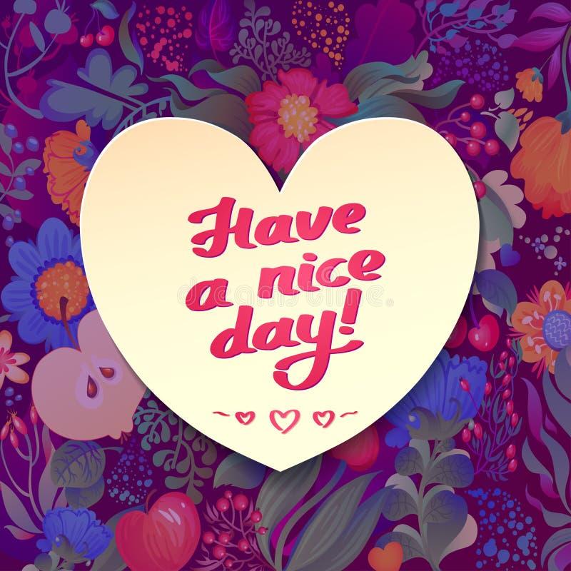Blumenkarte mit Blatt- und Beerenkranz Haben Sie eine schöner Tageskalligraphiebeschreibung stock abbildung