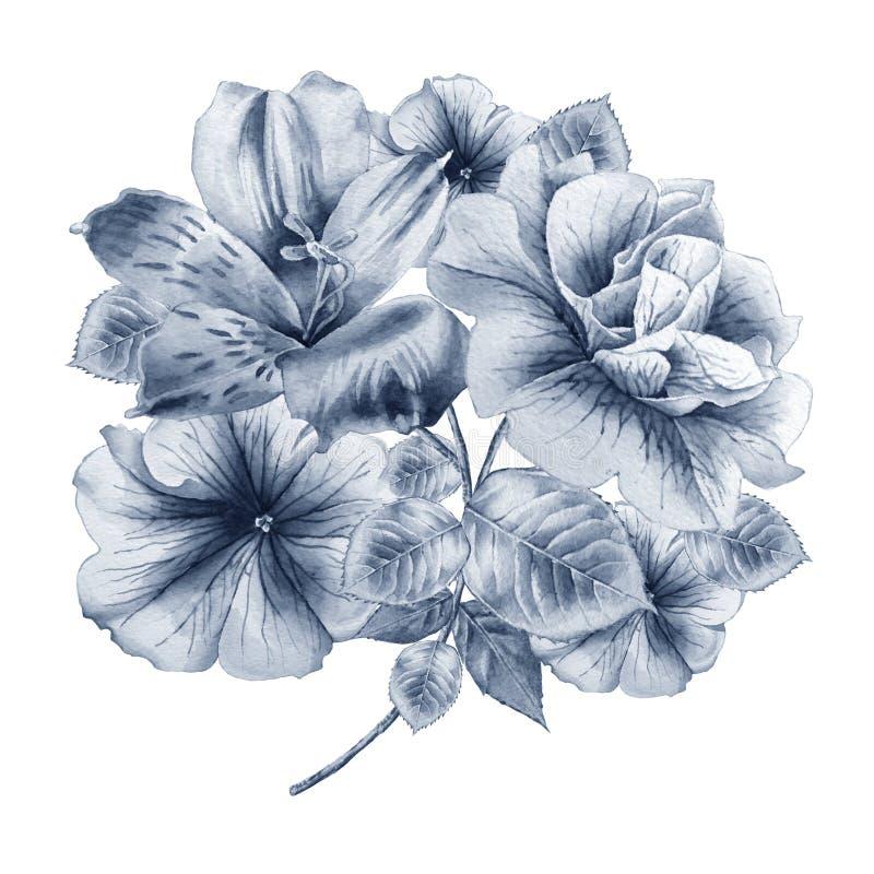 Blumenkarte mit Blumen petunie Alstroemeria Dekoratives Bild einer Flugwesenschwalbe ein Blatt Papier in seinem Schnabel vektor abbildung