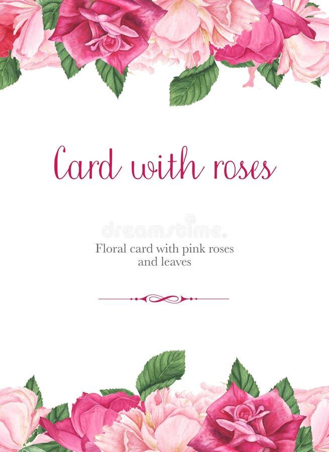 Blumenkarte mit den rosa und roten Rosen, den purpurroten Klematis und den grünen Blättern, Aquarellmalerei stock abbildung