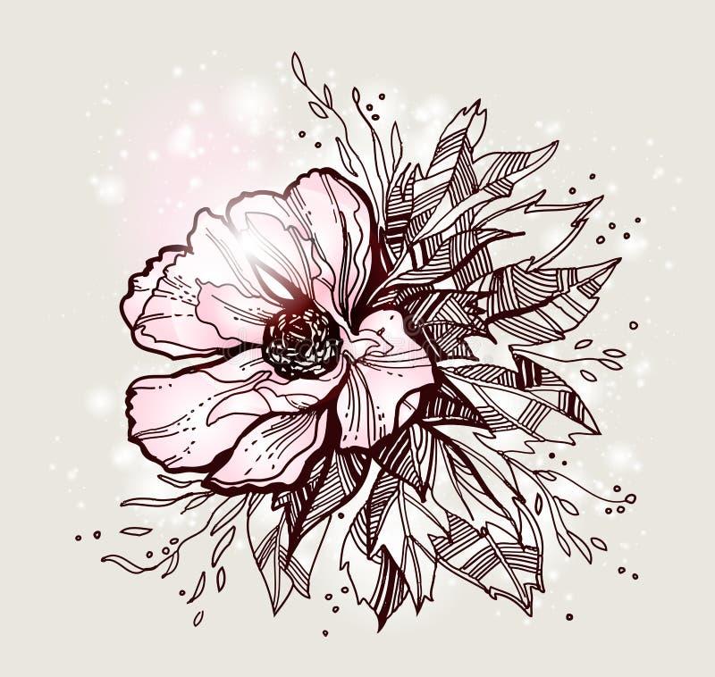 Blumenkartenhintergrund mit stieg vektor abbildung