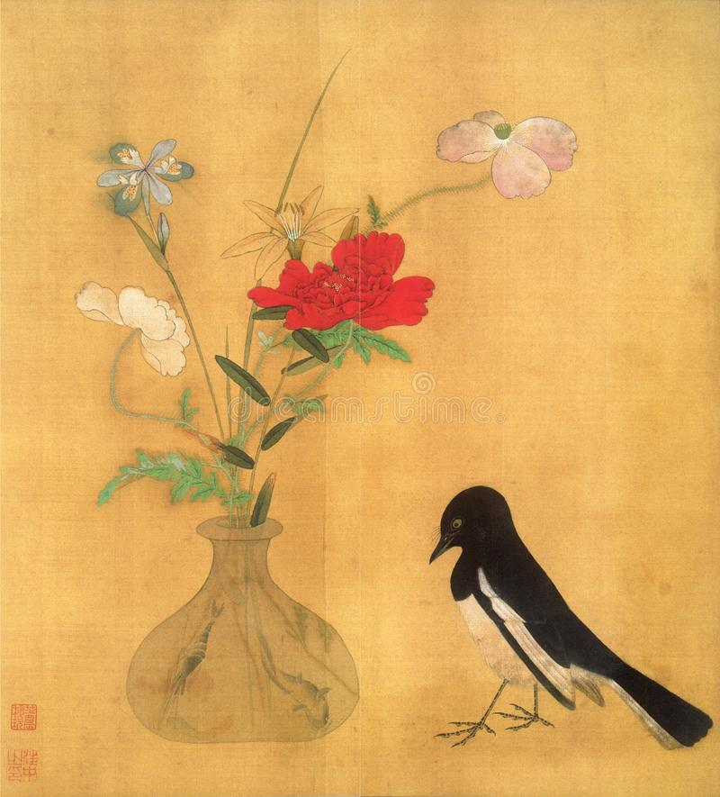 Blumenkorb und Blumenkunst Elster stockbild