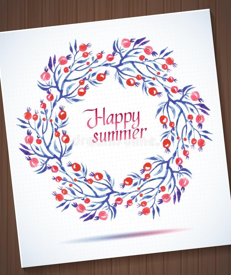 Blumenkranz des glücklichen Sommeraquarells mit Blume lizenzfreie abbildung
