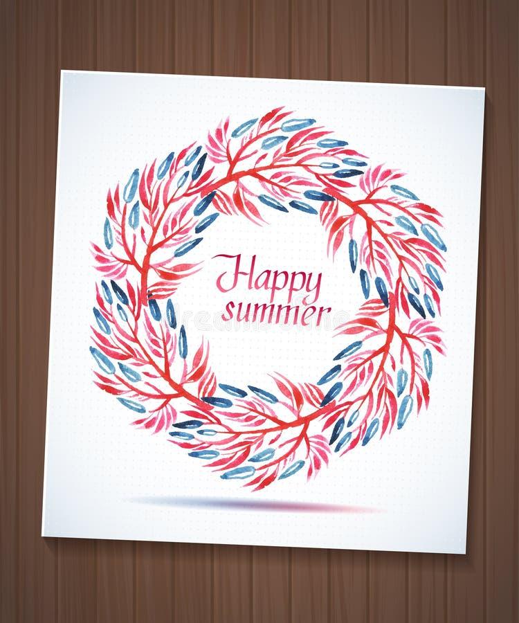 Blumenkranz des glücklichen Sommeraquarells mit Blume stock abbildung