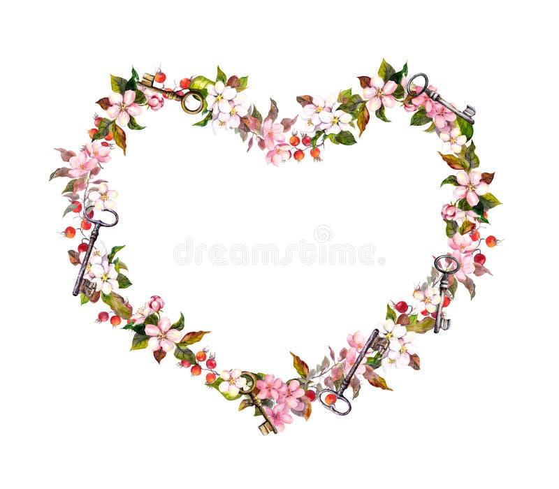 Blumenkranz - Herzform Rosa Blumen, Herzen, Schlüssel Aquarell Für ...