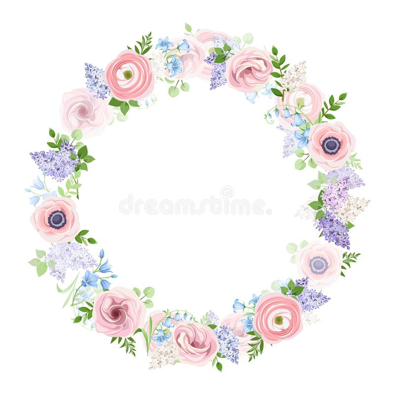 Blumenkranz mit den Rosa-, Blauen und Purpurrotenblumen Auch im corel abgehobenen Betrag vektor abbildung