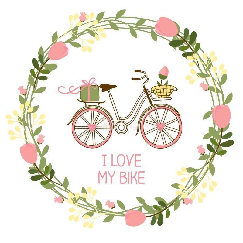 Blumenkranz und Fahrrad