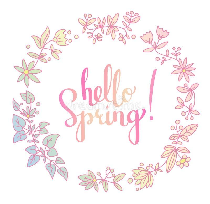 Blumenkranz- und Handbeschriftung vector Wörter hallo Frühling lizenzfreie abbildung