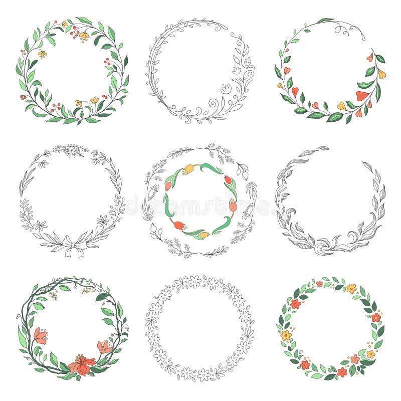 Blumenkreisgekritzelrahmen Handgezogene lineare runde Grenzen, Floristenweinlesegestaltungselemente Vektorgekritzelrundschreiben stock abbildung