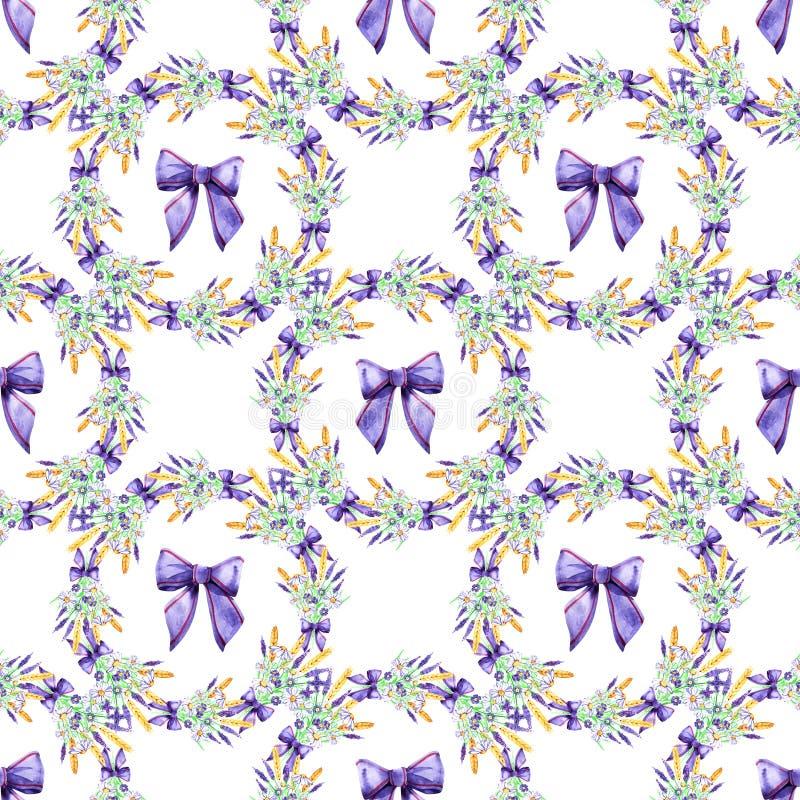 Blumenlavendel des leichten Aquarells nahtlos Fokus auf Vordergrund watercolor Nahtloses Muster f?r Gewebe, Papier und andere lizenzfreie abbildung