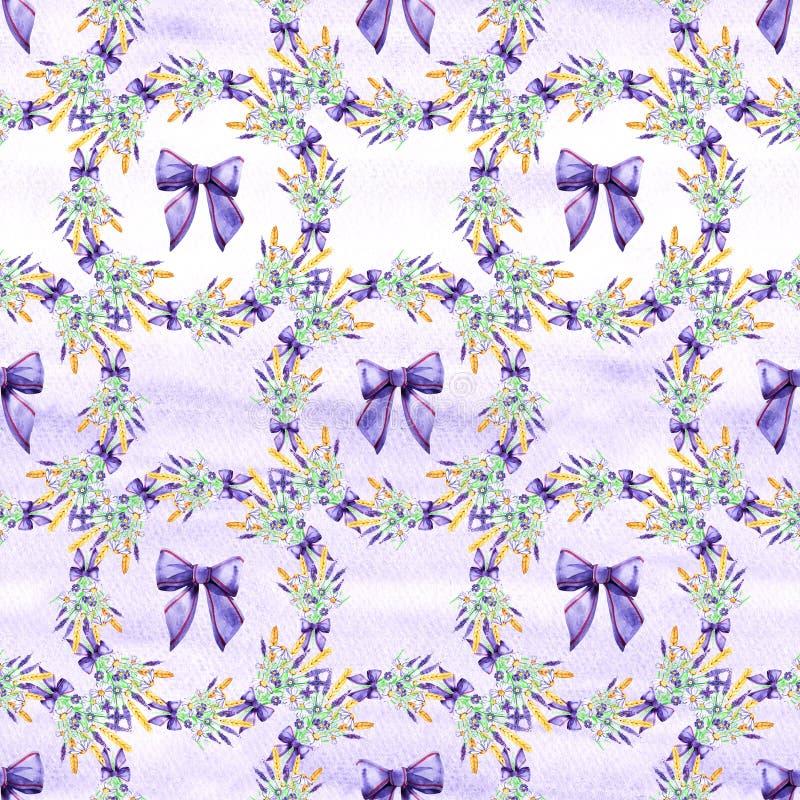 Blumenlavendel des leichten Aquarells nahtlos Fokus auf Vordergrund watercolor Nahtloses Muster f?r Gewebe, Papier und andere stock abbildung