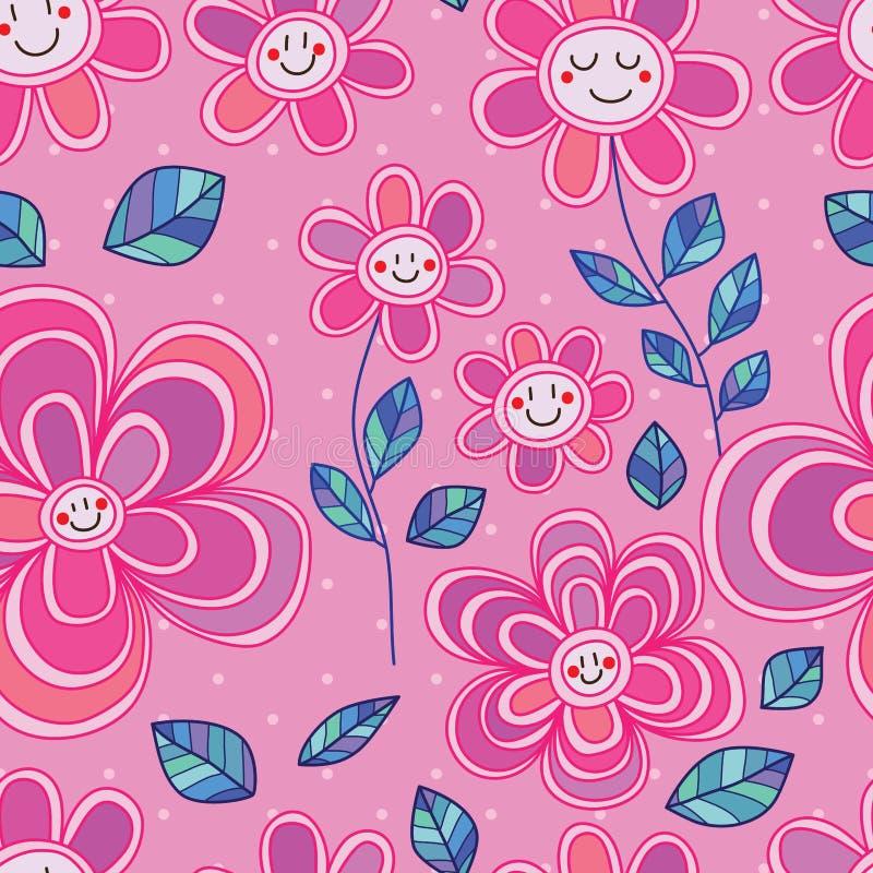 Blumenlinie nahtloses Muster des netten Lächelns der Art stock abbildung