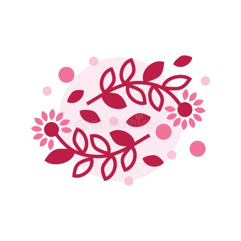 Blumenlogoschablone, Illustration, Naturfloristenfirmenzeichenschönheitsindustriefirmenlogo-Konzeptemblem am 8. März Muttertag stock abbildung