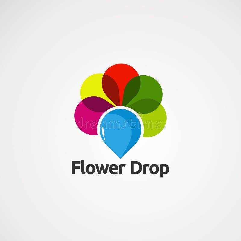 Blumenlogovektor, -ikone, -element und -schablone des Tropfens blauer für Firma lizenzfreie abbildung