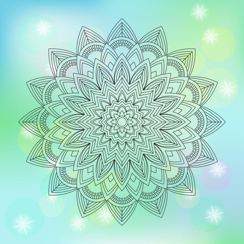 Blumenmandala auf abstraktem Hintergrund, Vektorillustration lizenzfreie abbildung