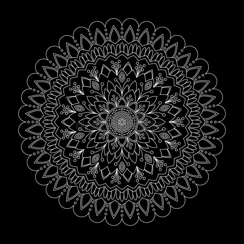 Blumenmandala auf schwarzem Hintergrund, Vektor lizenzfreie abbildung