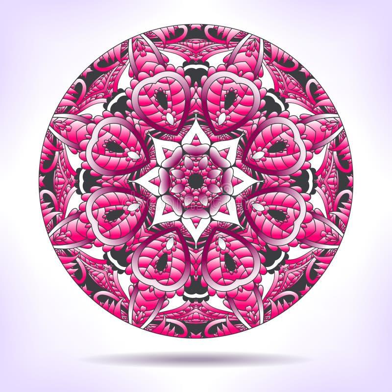 Blumenmandala in den rosa Tönen lizenzfreie abbildung