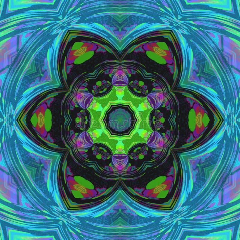 Blumenmandala des symmetrischen Mehrfarbenfractal in der Fliesenbuntglasart stock abbildung