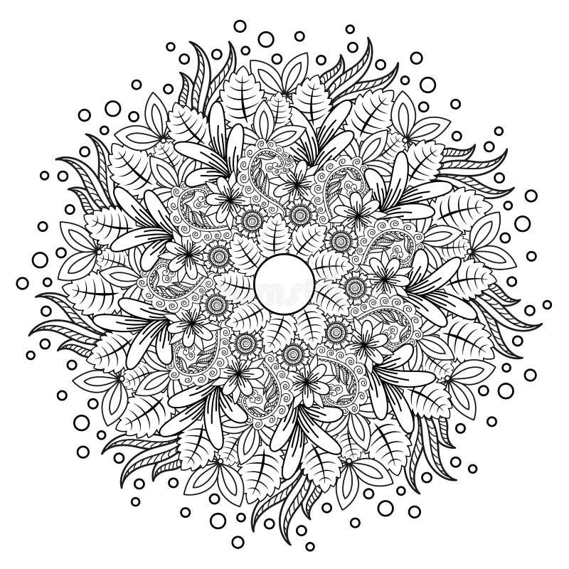 Blumenmandala Vektorillustration zentangl Vektor ENV 10 Nachdenkliche ?bungen Malbuchantidruck vektor abbildung