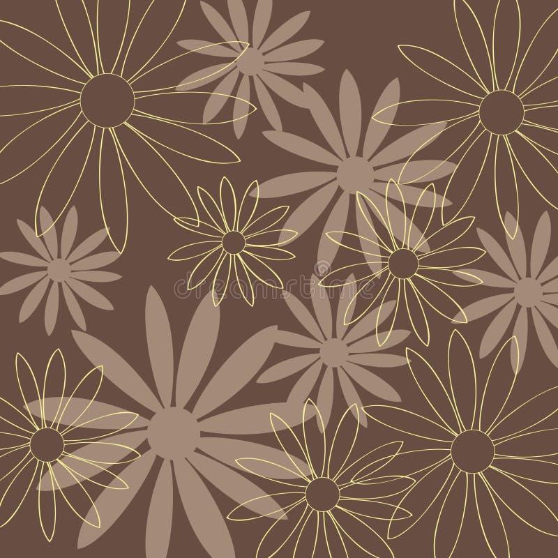 Blumenmuster-Braunhintergrund Stockfoto