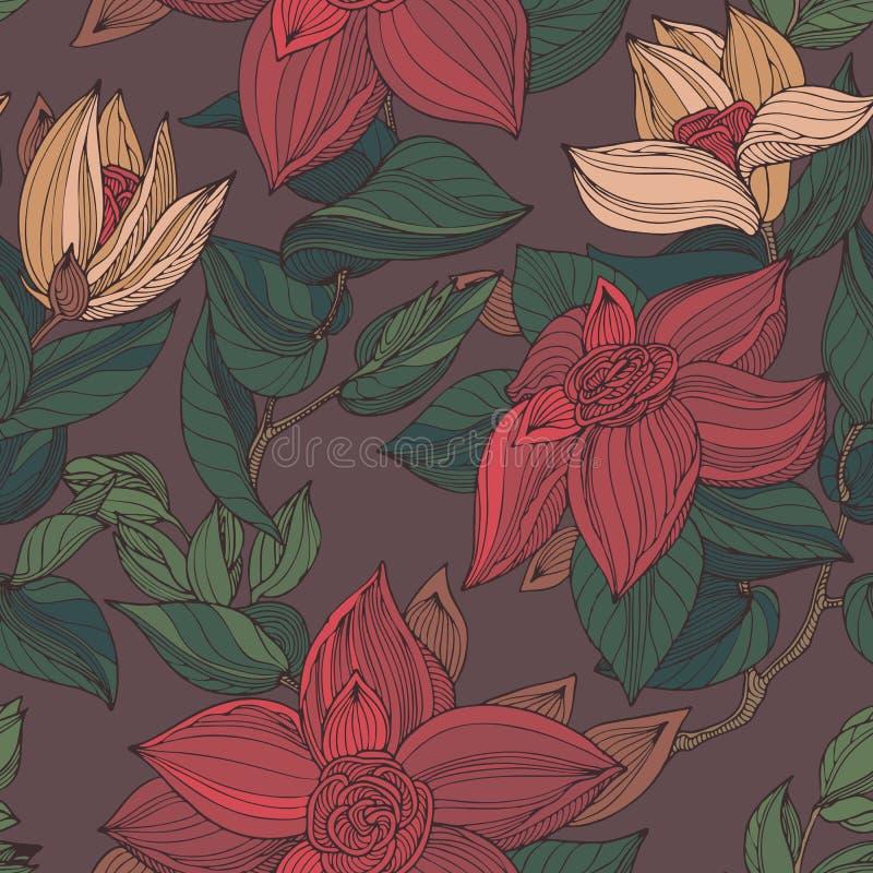Blumenmuster der dunkelroten, beige, braunen und grünen nahtlosen Weinlese lizenzfreie abbildung