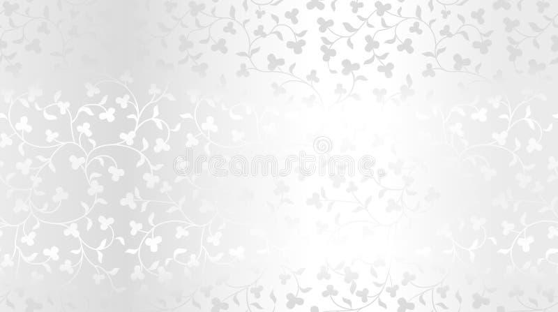 Blumenmuster der nahtlosen Beschaffenheit des Vektors silbernen Wiederholender Damastplatinluxushintergrund Erstklassiges Packpap stock abbildung