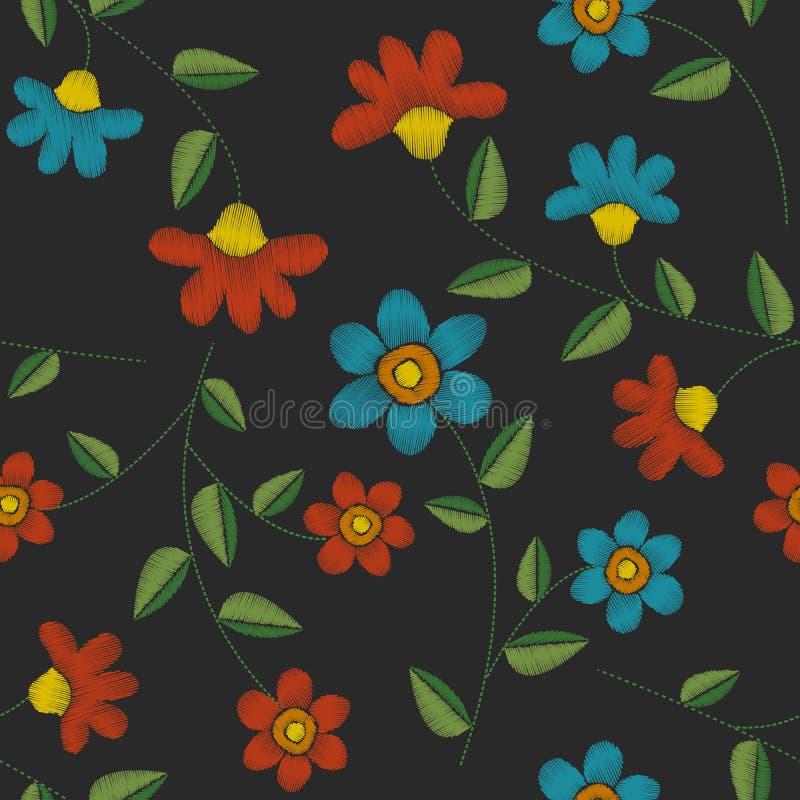 Blumenmuster der nahtlosen Stickerei lizenzfreie abbildung
