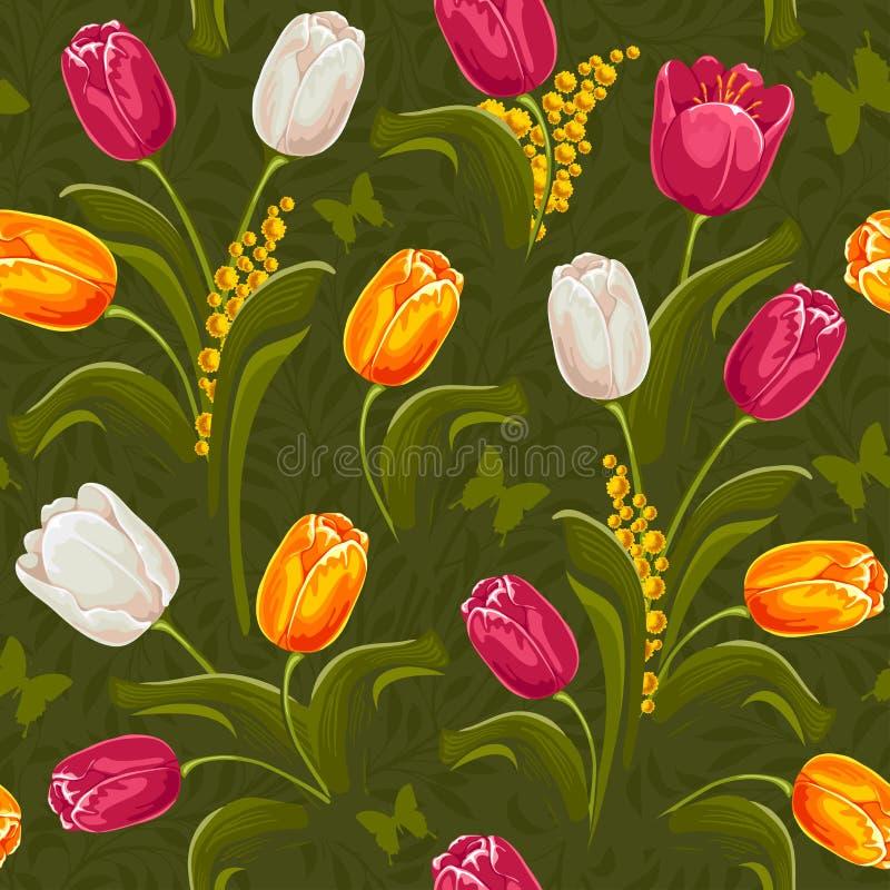 Tulpen. Nahtloser Hintergrund. lizenzfreie abbildung