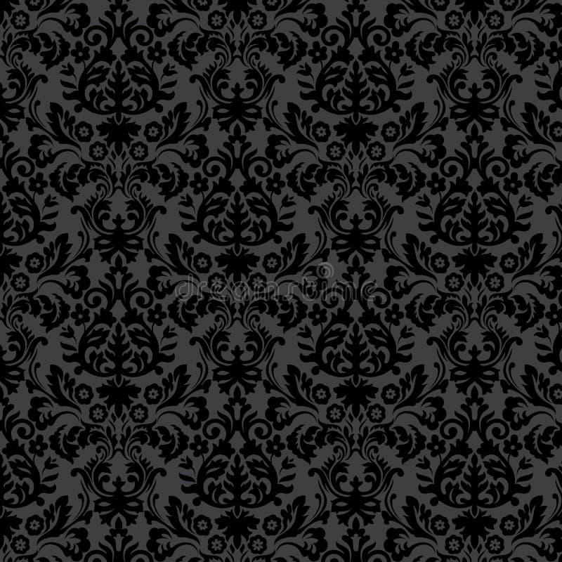 Blumenmuster der schwarzen Damastweinlese vektor abbildung