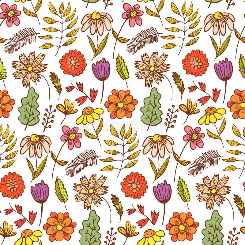Blumenmuster des hellen roten Gekritzels mit Blumen lizenzfreie abbildung