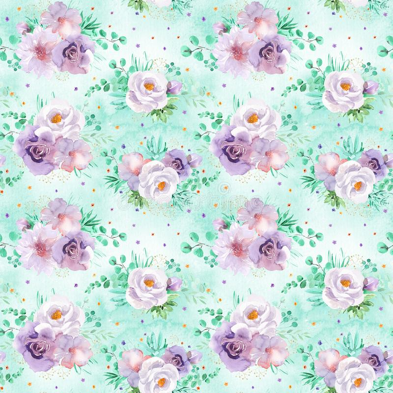 Blumenmuster des nahtlosen Aquarells in den tadellosen grünen und hellpurpurnen violetten Farben auf hellgrünem Hintergrund lizenzfreie stockfotografie