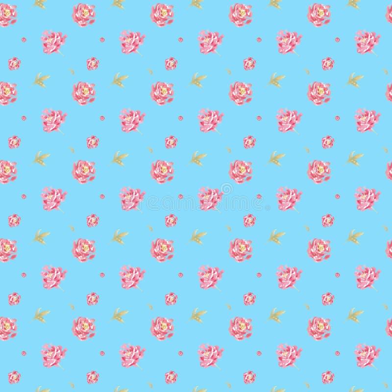 Blumenmuster des nahtlosen Aquarells mit rosa Pfingstrosen stock abbildung