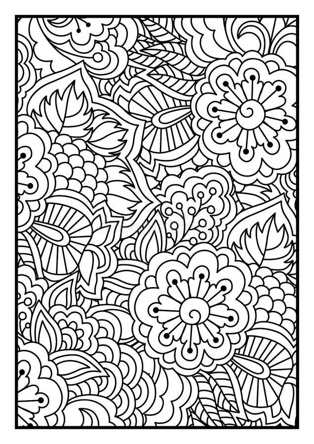 Blumenmuster für Malbuch lizenzfreie abbildung