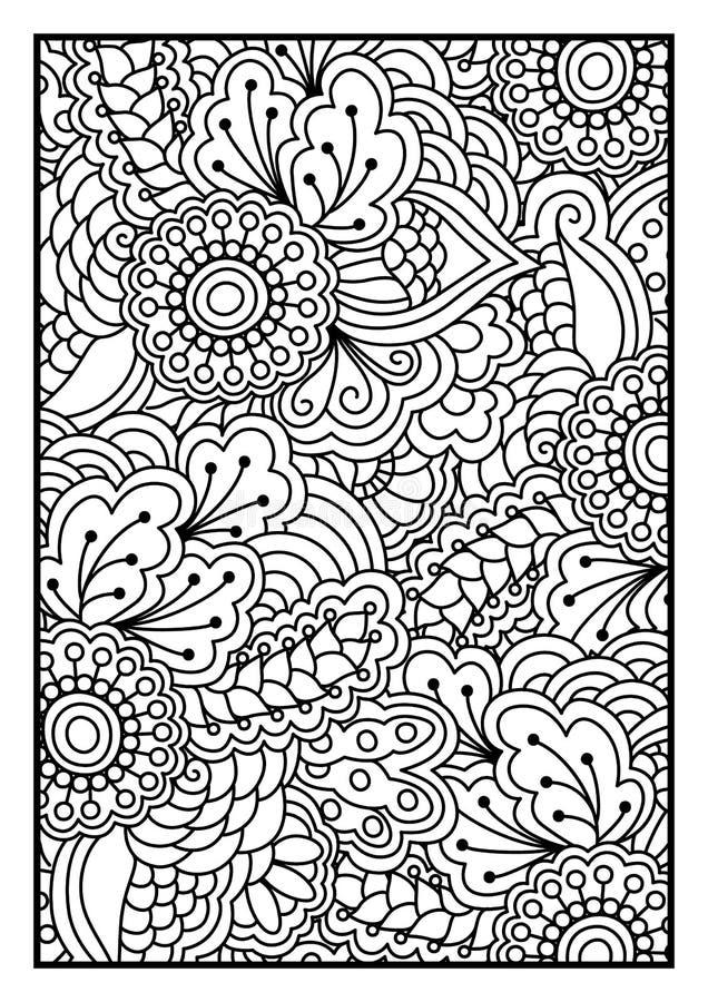Blumenmuster für Malbuch vektor abbildung