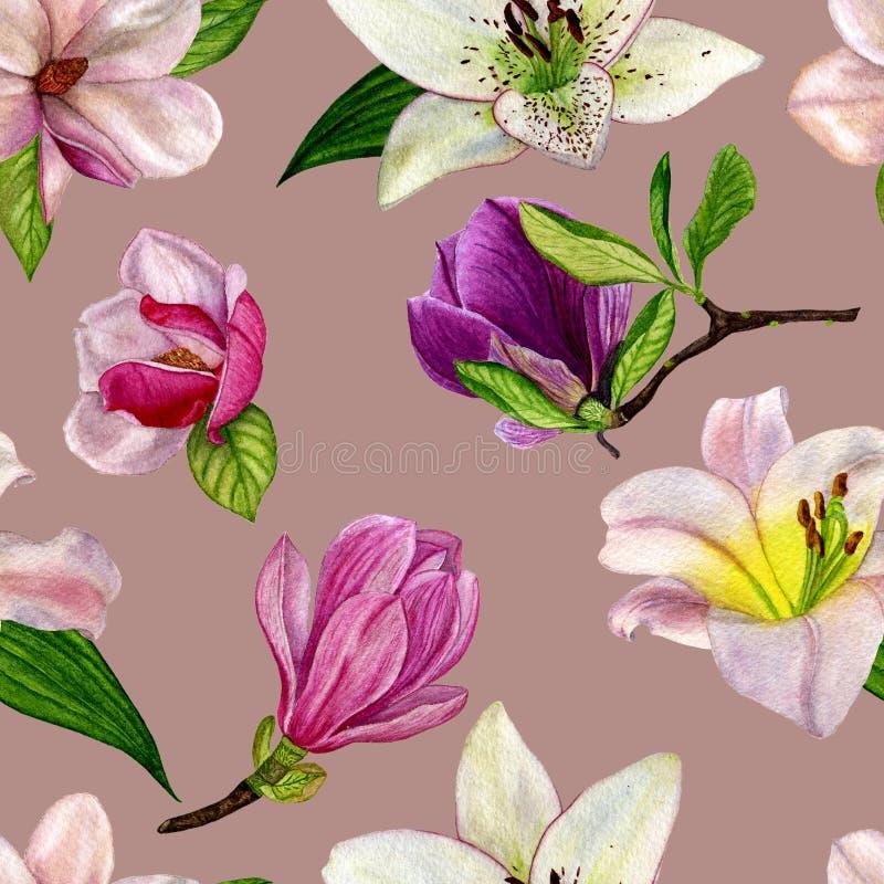 Blumenmuster für Tapete oder Gewebe Nahtloses Muster mit Frühlingsblumen Magnolie und Lilie Watercolourillustrations-Handfarbe lizenzfreie abbildung